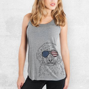 Teddy the Labradoodle - American Flag Aviators - Tri-Blend Racerback Tank