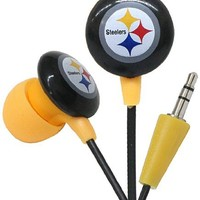 iHip NFF10200PS NFL Pittsburgh Steelers Mini Ear Buds- Black/Yellow