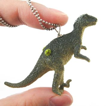 Velociraptor Raptor Dinosaur Shaped Pendant Necklace | Animal Jewelry