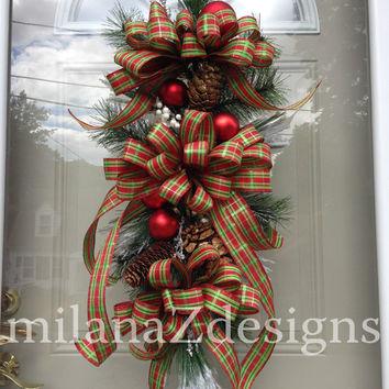 christmas swag red green plaid christmas wreath traditional christmas decorations mantle or - Christmas Swag Decorations