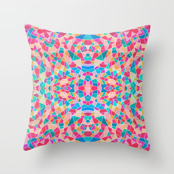 Multi-Colored Kaleidoscope Geometric Geometry Shapes Throw Pillow by AEJ Design