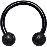 "16 Gauge 5/16"" Black Color PVD Textured Horseshoe Circular Barbell"