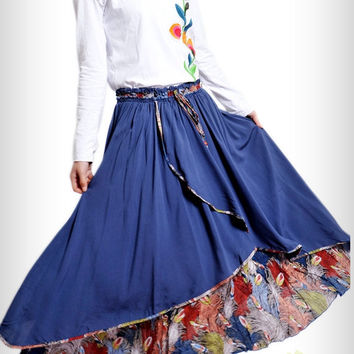 spring wind/women skirt/peacock pattern/flowing/long