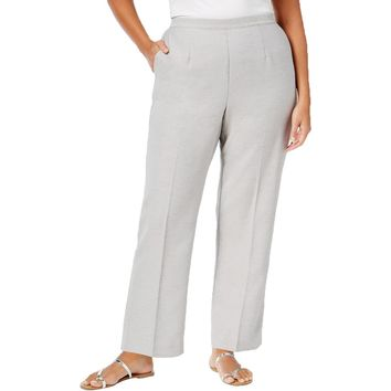 Alfred Dunner Womens Plus Solid Flat Casual Pants