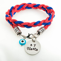New York GIANTS hand stamped disc - two colors braided velvet cord bracelet - evil eye bead