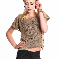 SUN AND MOON SHREDDED TOP