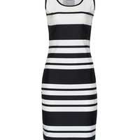 Contrast Striped Sleeveless Bodycon Mini Dress