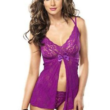 CREYI7E The 2PC. Stretch Lace Split Halter Flyaway Babydoll G-string in Plum