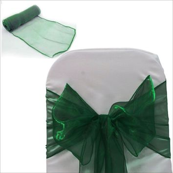 2017 New Arrival Color Dark Green Organza Chair Sash Bow For Wedding Party Decorations Reception Favors