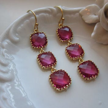 Fuchsia Earrings Hot Pink Gold - Wedding Earrings - Bridesmaid Earrings - Bridal Earrings