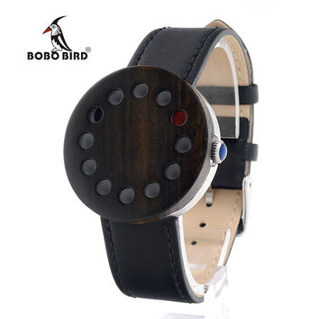 BOBO BIRD Brand C12 12holes Design Wood Watches Mens Watches Top Brand Luxury Watch For Women Real Leather Straps as Best Gifts