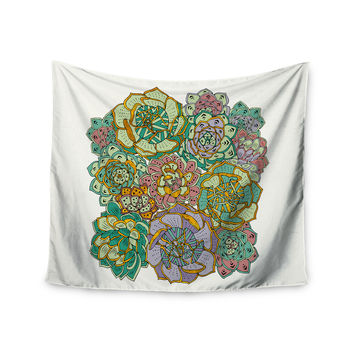 "Pom Graphic Design ""Succulent Love"" Green Orange Wall Tapestry"
