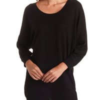 Long High-Low Scoop Neck Sweater by Charlotte Russe - Black