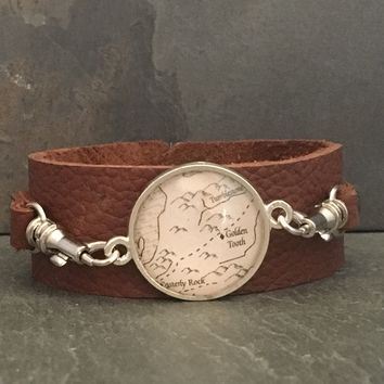 Game of Thrones book page leather cuff bracelet