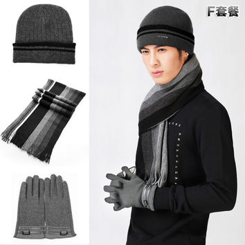 Male winter wool hat long scarf touch screen gloves thermal piece set one piece plus velvet thickening yarn set