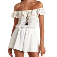 Crochet Flounce Off-the-Shoulder Chiffon Romper - Ivory