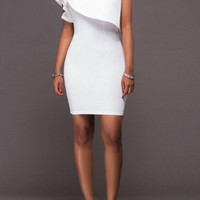 Casual White Ruffle Asymmetric Shoulder One Shoulder Bodycon Party Mini Dress