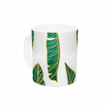 "83 Oranges ""Banana Leaf Gold"" Gold Green Digital Ceramic Coffee Mug"