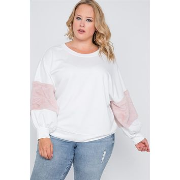 Plus Size Faux Fur Pink Sleeves Sweater