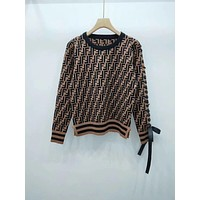 FENDI FF Knit Discount Puff Bow Blouse