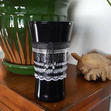 Makeup Brush Holder, Vintage, Black White, Handmade, Recycled, Home Decor, Black Makeup Jar, Makeup, Bedroom Decor, Makeup Holder, Organizer