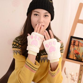 1Pair Fashion Cat Claw Gloves Winter Cute Cat Claw Paw Fingerless Warm Hand Gloves Wrist Gloves Plush Soft