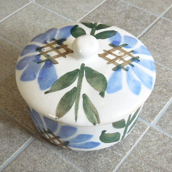 Blue brown floral ceramic trinket box jewelry box - Wedding favor bridal shower favors