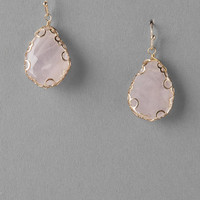 Camrose Semi-Precious Teardrop Earrings In Rose Quartz