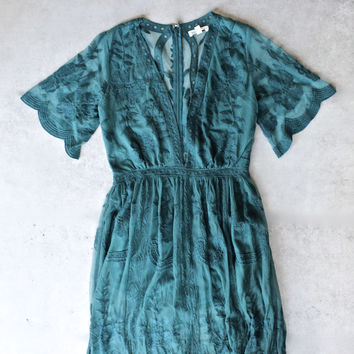 as you wish embroidered lace maxi dress (women) - teal