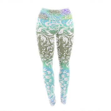 "Vikki Salmela ""Blue Bloom Softly for You"" Yoga Leggings"