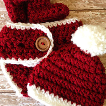 Crochet Christmas Baby Hat,  Booties, and Diaper Cover Set - Newborn to 6 months / Photo Prop / Baby Boy or Girl