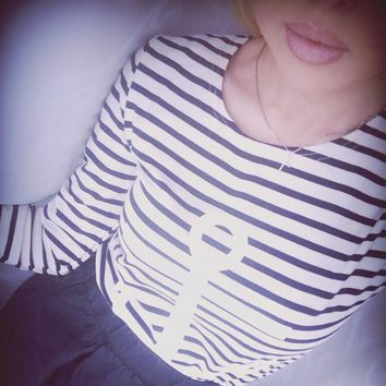 9 colors Striped with Printed Anchor women T-shirts Long Sleeve Cotton Autumn Winter under shirts tops tees for woman S/M/L