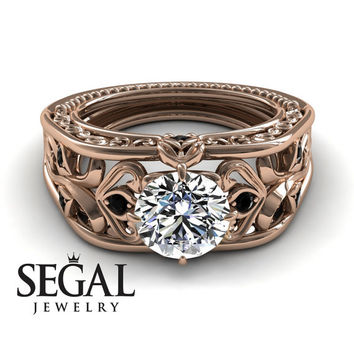 Unique Engagement Ring Diamond ring 14K Red Gold Art Deco Ring Filigree Ring White diamond With Black Diamond - Skyler