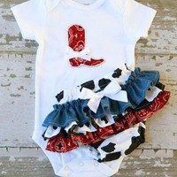 Little Cowgirl Ruffle Bottom Bloomers and Boot Applique Onesuit