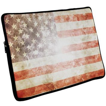 PEAPGQ9 4th of July American Flag Star Spangled Banner Laptop Sleeve 17 inch