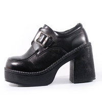 90s Vintage Platform Loafers Black Vegan Leather Chunky Heel Slip On Club Kid Goth Women Size US 6 UK 4 EUR 36/37