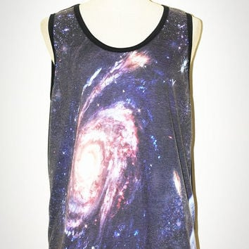 Star Cluster Galaxy Andromeda Universe Black Tank Top Singlet Sleeveless Photo Transfer Punk Rock T-Shirt Size L