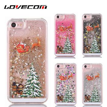 LOVECOM Merry Christmas !Dynamic Liquid Quicksand Transparent Hard PC Phone Back Cover Cases For iPhone 6 6S 7 Plus Capa