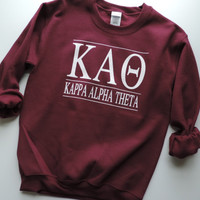 New Kappa Alpha Theta Maroon & More Stripe Crewneck Sweatshirt // Size S-2XL // You Pick Color