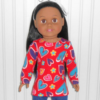 18 inch Girl Doll Clothes Red Shirt with Hearts and Flowers Long Sleeve Tee Shirt