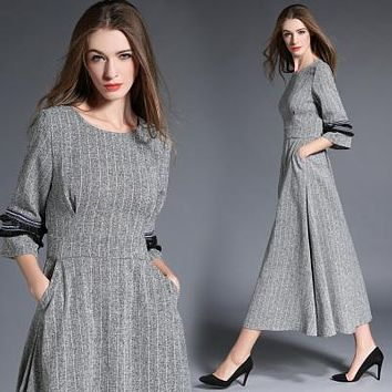 HIGH QUALITY New Fashion 2017 Designer Maxi Dress Women's 3/4 Sleeve Slit Vintage Casual Long Dress