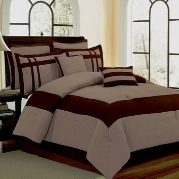 Georgia Luxury King Comforter Set Taupe/ Chocolate
