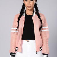 Dream Team Bomber Jacket - Pink/White