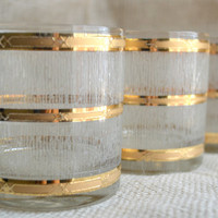 Culver Gold Banded Icicle  Glasses //  Culver Bamboo pattern rocks Glasses // Hollywood Regency Bar Ware