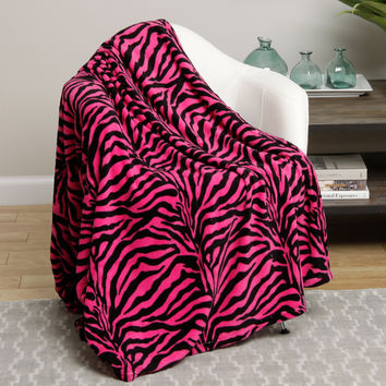 Animal Print Ultra Plush Pink Zebra Full Size Microplush Blanket
