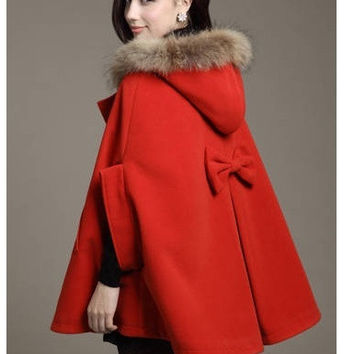 Red Blue Khaki 2015 Fashion Women's Batwing Cape Wool Poncho Fur Collar Hooded Jacket Cloak Coat Outerwears Female Kimono Cardigan Windbreaker Tops Women's Clothing = 1946913284
