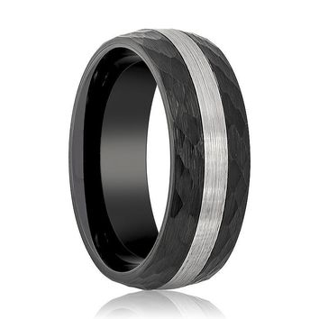 Men's Black Hammered Tungsten Wedding Band with Silver Brushed Stripe Center Domed Edges