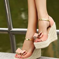 Pink n Gold Bows Platform Sandals from magisteriall