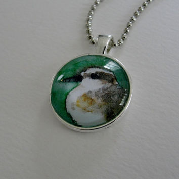 Summer Beach Bird Art Glass Silver Pendant Necklace Shorebird Sandpiper Pendant on Silver Ball Chain Bird Jewelry from Original Art