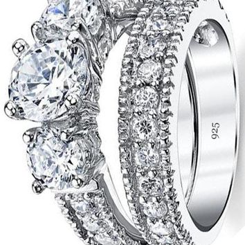 1.25 Carat Sterling Silver Past Present Future 2-Pc Bridal Set Engagement Wedding Ring Band W/Cubic Zirconia CZ